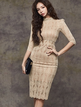 Stand Neck Hook Flower Long Sleeve Lace Dress