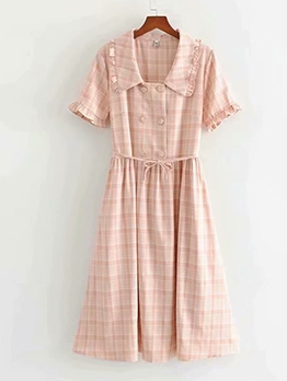 Preppy Style Doll Collar Pink Plaid Short Sleeve Dress