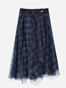 Chic Gauze Irregular Hem Plaid Skirt