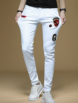 Fashion Stretchy Printed Mens Skinny Jeans