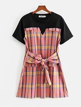 Contrast Color Plaid Short Sleeve A-Line Dress