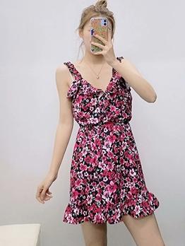 Summer V Neck Sleeveless Floral A-Line Dress