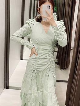 Drawstring Long Sleeve Green Ladies Dress