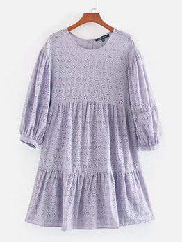 Euro Embroidery Loose Short Sleeve Purple Dress