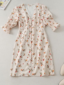 French Style Floral Short Sleeve A-Line Dress