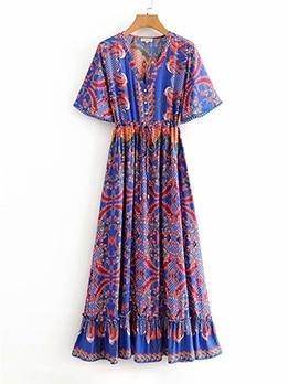 Casual National Print Short Sleeve Maxi Dress