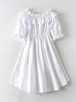 Euro Boat Neck White Short Sleeve a-Line Dress