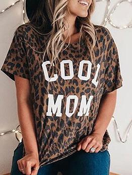 Letter Leopard Print T Shirts For Women