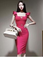 Trendy Pure Color Square Neck Cheap Dresses