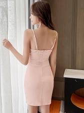 Deep V Neck Sleeveless Mini Dress For Club