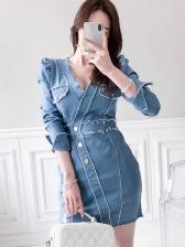 High End V Neck Fitted Long Sleeve Denim Short Dress