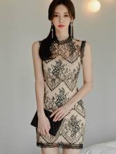 Elegant Stand Neck Lace Detail Sleeveless Sheath Dress