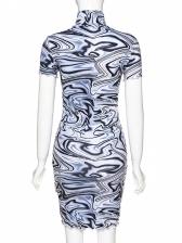 Summer High Neck Print Short Sleeve Bodycon Dress