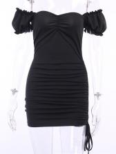 Sexy Draped Off Shoulder Short Sleeve Mini Dress