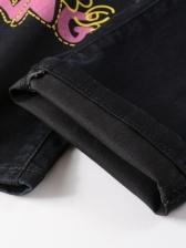 Hip-Pop 3D Printed Letter Boyfriend Jeans