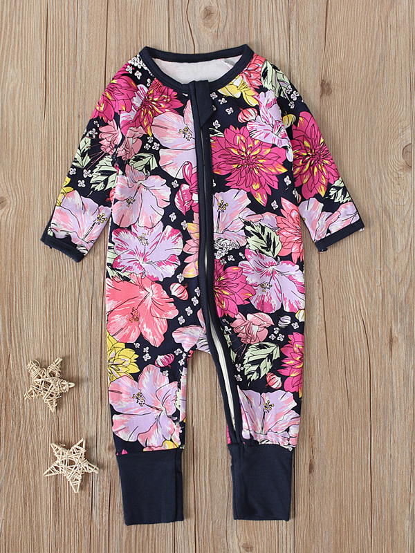 Casual Flower Print Long Sleeve Pink Baby For Girls