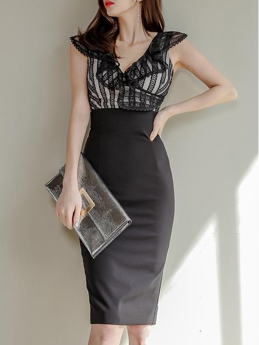 Fashion Deep V Neck Back Sleeveless Sheath Dress