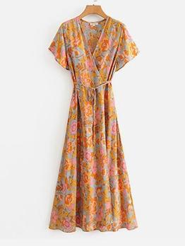 V Neck Printed Short Sleeve Maxi Dresses