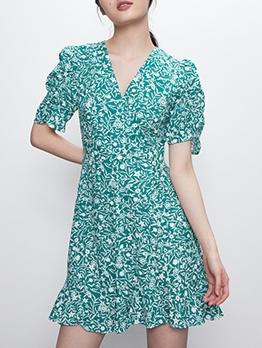 Summer v Neck Printed Short Sleeve Dress