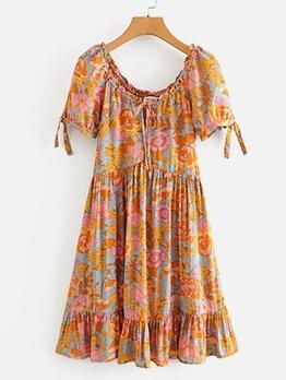 Stylish Ruffled Printed Short Sleeve Ladies Dress