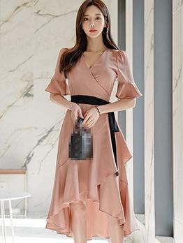 V Neck Ruffled Solid Ladies Midi Dress