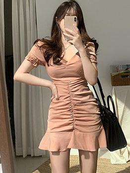 Summer V Neck Draped Short Sleeve Ladies Dress