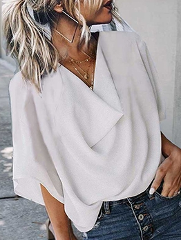 Simple Style Pure Color Lightweight Chiffon Blouse