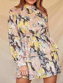 Retro Flower Printed Ladies Long Sleeve Dress