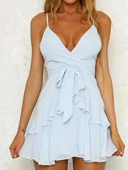 V Neck Front Tied Slip Ladies Dress
