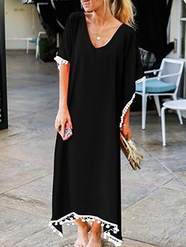 Euro V Neck Short Sleeve Chiffon Maxi Dress For Beach