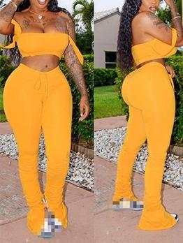 Split Stacked Bottom Off Shoulder Crop Top And Pants Set