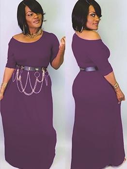 Crew Neck Purple Short Sleeve Maxi Dress Casual