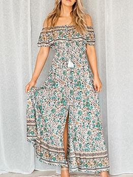 Bohemian Tribal Printed Off The Shoulder Maxi Dress
