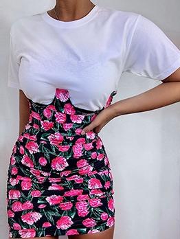 Crew Neck Flower Printed Patchwork One Piece Dress