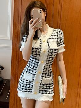 Buttons Long-Line Houndstooth Short Sleeve Dress