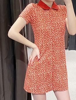 Single-Breasted Leopard Print Orange Tee Dress