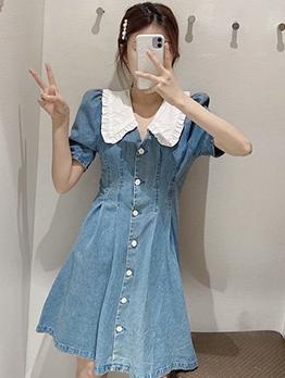 Doll Collar Single-Breasted Denim A-Line Dress