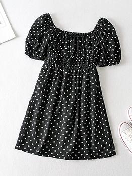 Vintage Square Neck Polka Dot Short Dress