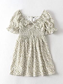 Fresh Style Smart Waist Floral Short Sleeve Dress