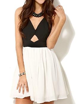 Back Bowknot Decor Patchwork Sleeveless Dress