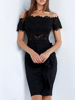 Hot Sale Lace Patchwork Short Sleeve Dress