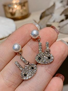 Rhinestone Decor Cute Rabbit Earrings For Women