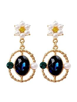 Vintage Style Faux Pearl Zircon Drop Earrings