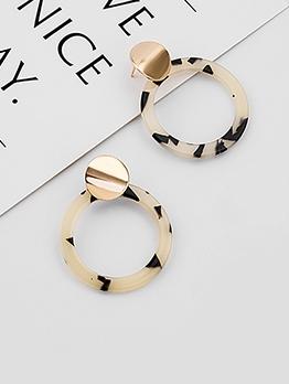 Simple Design Matel Sequin Round Earrings