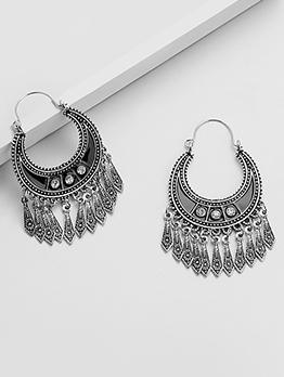 National Style Rhinestone Tassel Drop Earrings