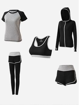 Breathable Contrast Color Five Piece Yoga Outfit
