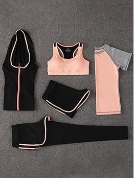 Breathable Contrast Color Low Waist Five Piece Yoga Outfit