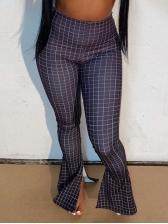 Split Bottom Plaid Skinny Long Pants For Women