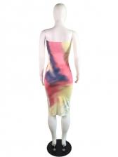Sexy Tie Dye Strapless Bodycon Dress