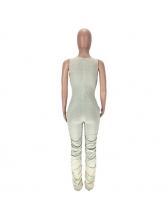 Solid U Neck Ruched Leg Sleeveless Jumpsuit